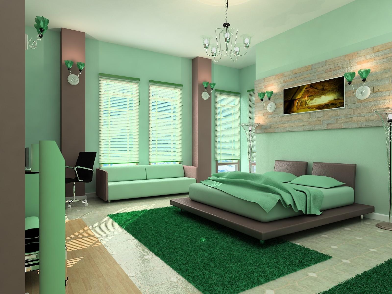 Покраска стен в спальни дизайн