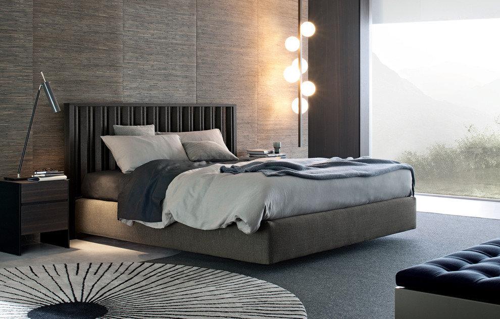 Интерьер спальни в холодный и спокойных тонах
